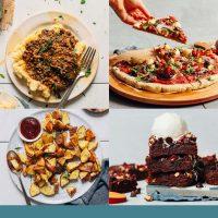 Assortment of vegan comfort food recipe photos