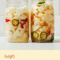 Two jars of our Spicy Pickled Cauliflower (Escabeche)