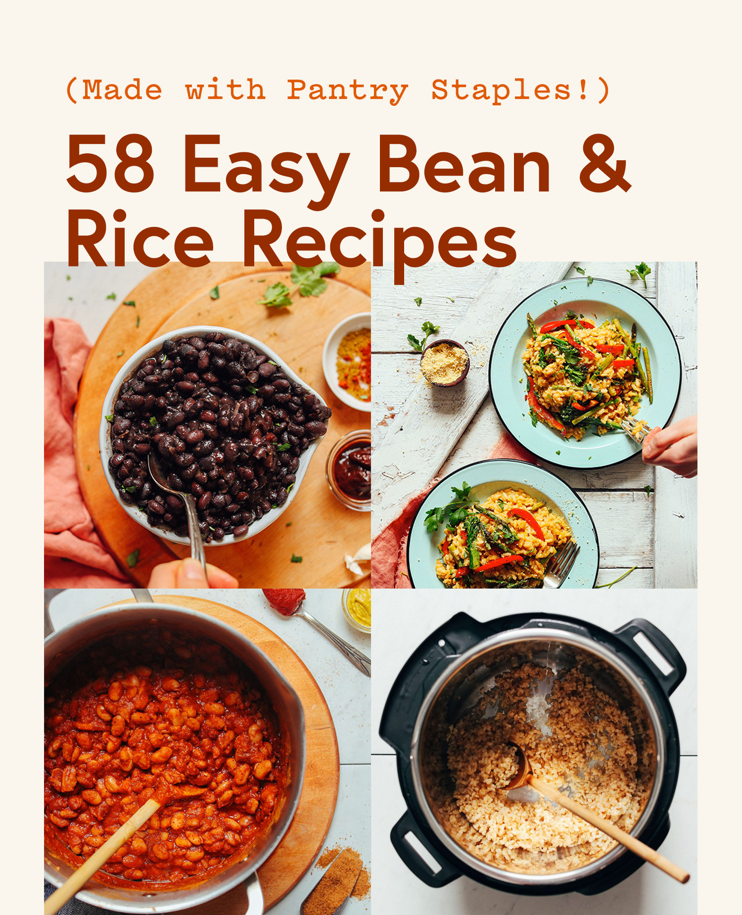 Bowls of black beans, risotto, BBQ Beans, and brown rice