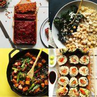 Assortment of bean and rice recipe photos
