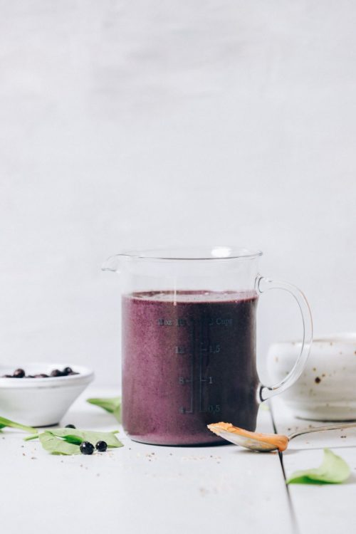 Blueberry Peanut Butter Smoothie in a liquid measuring cup