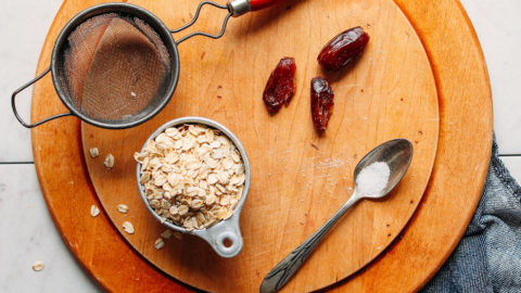 Oats and other ingredients for making homemade oat milk