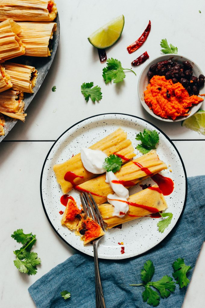 Sweet Potato Black Bean Tamales (Vegan)