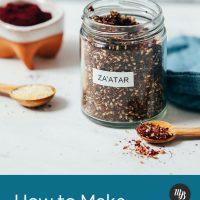Jar and spoonful of za'atar seasoning