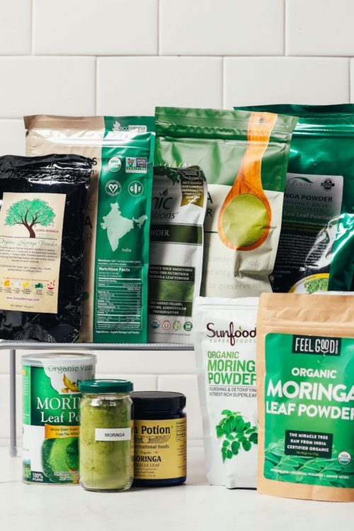 Assortment of moringa leaf powders for our review of the best moringa brands