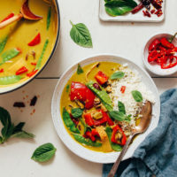 Pot and bowl of Thai Green Curry served with rice