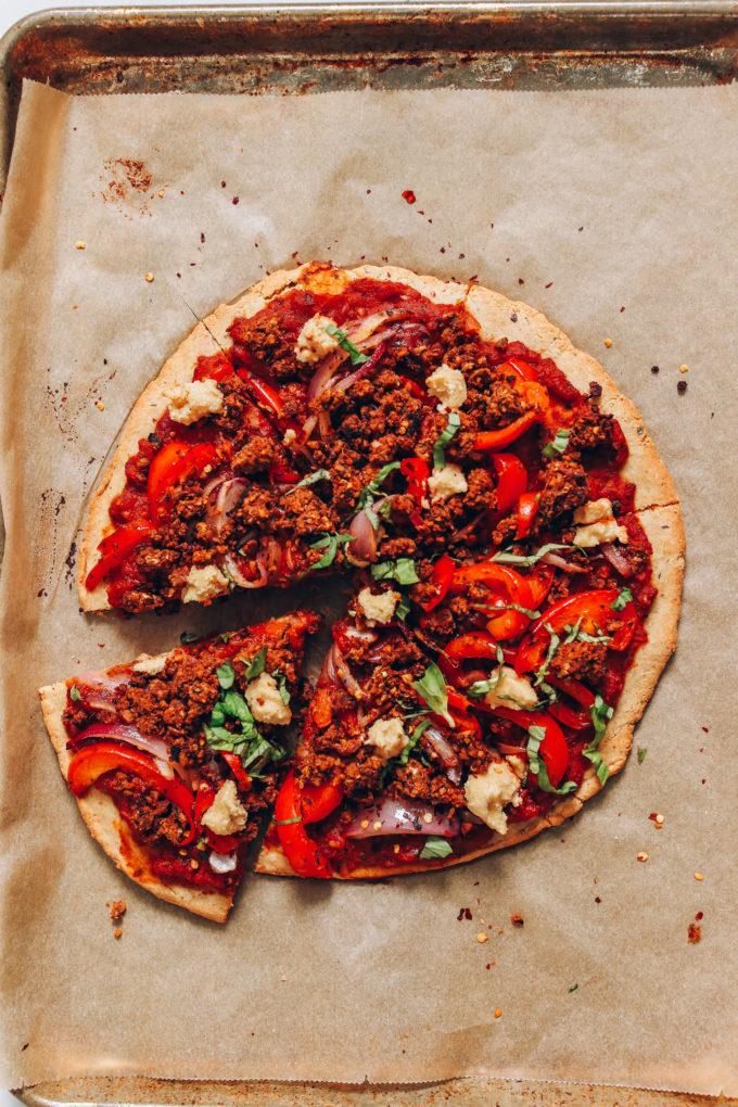 Gluten-Free Vegan Sausage Pizza