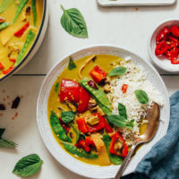 Bowl of vegan Vegetable Green Curry