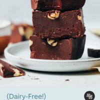 Stack of three slices of dairy-free chocolate fudge