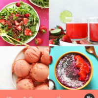 Salad, smoothie bowl, sorbet, and margaritas made with berries