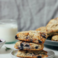 Stack of gluten-free scones made with wild blueberries and rosemary