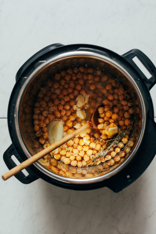 Instant Pot of seasoned cooked chickpeas