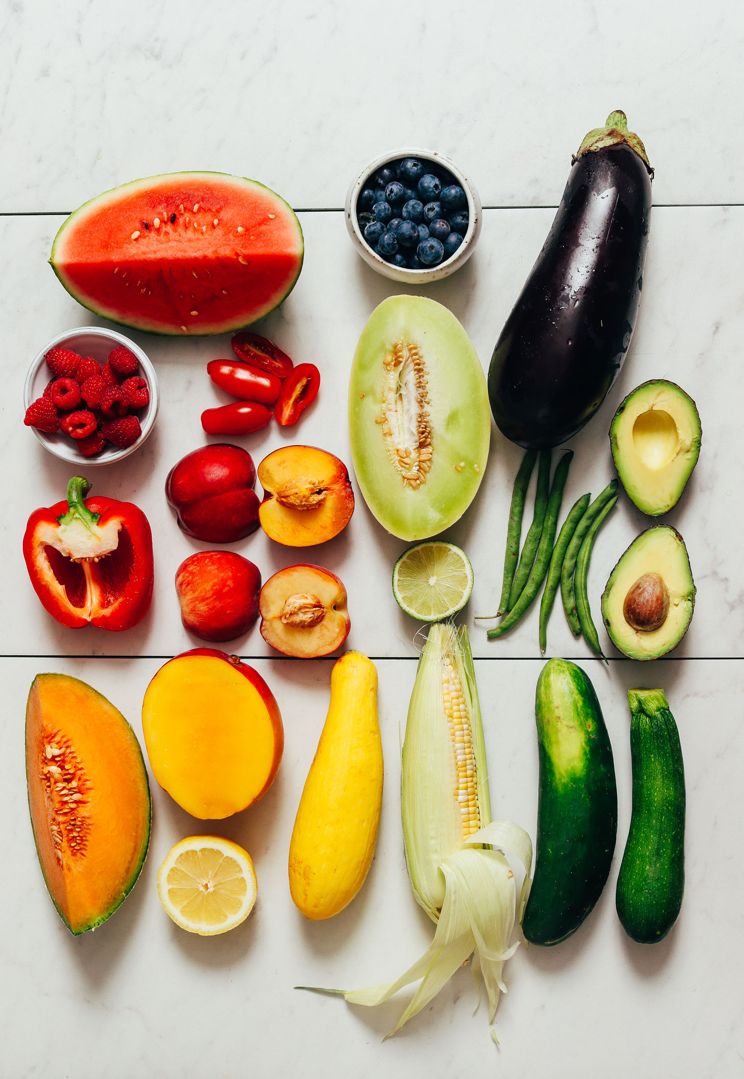 Melons, eggplant, avocado, stone fruit, and assortment of other seasonal produce