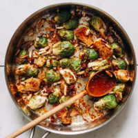 Pan of Honey Mustard Roasted Brussels Sprouts with almonds