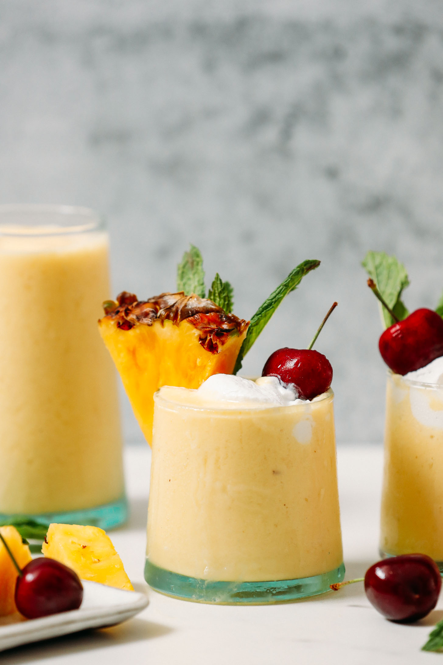 Glasses of our piña colada smoothie recipe
