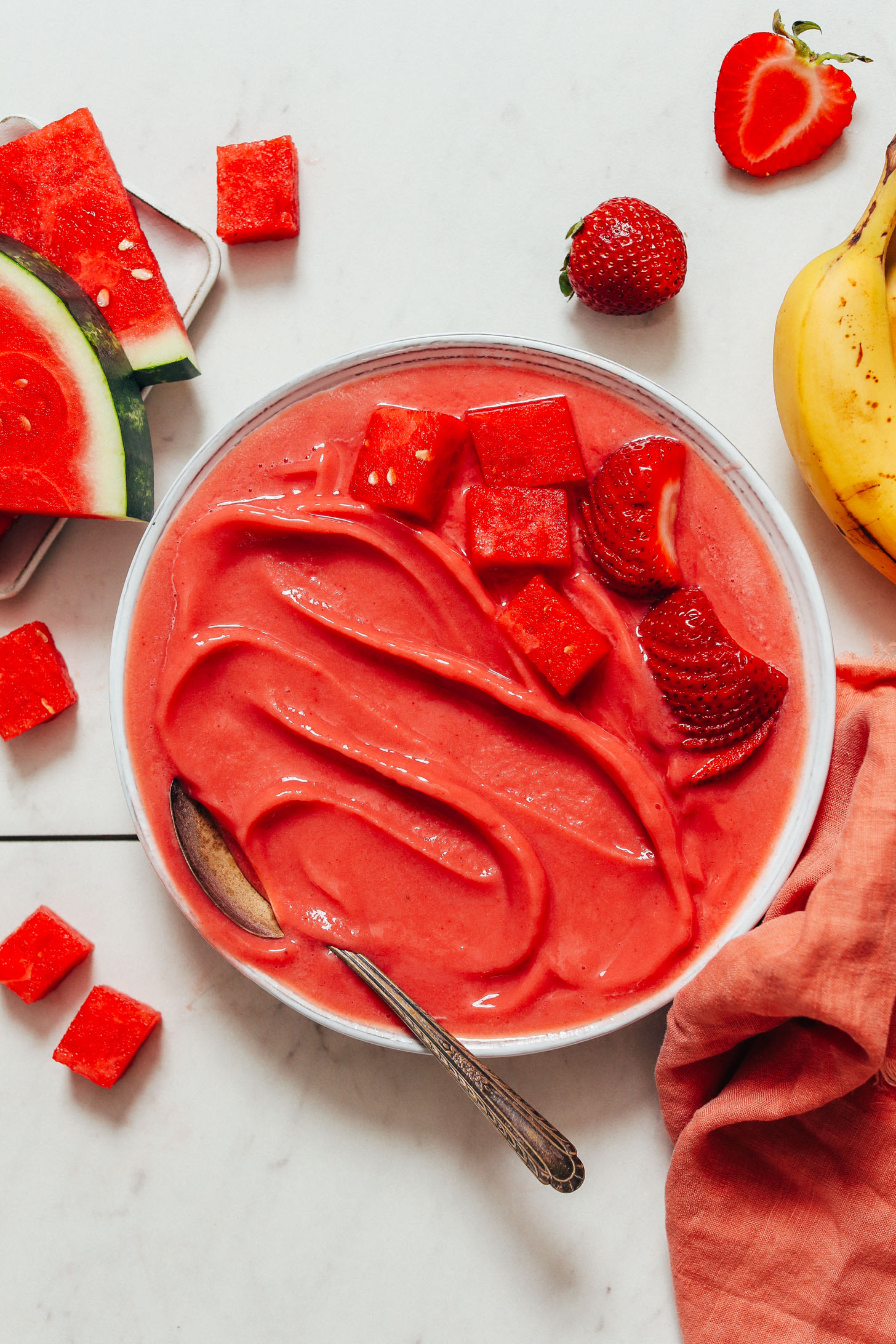 Bowl of Strawberry Watermelon Sorbet made without an ice cream maker