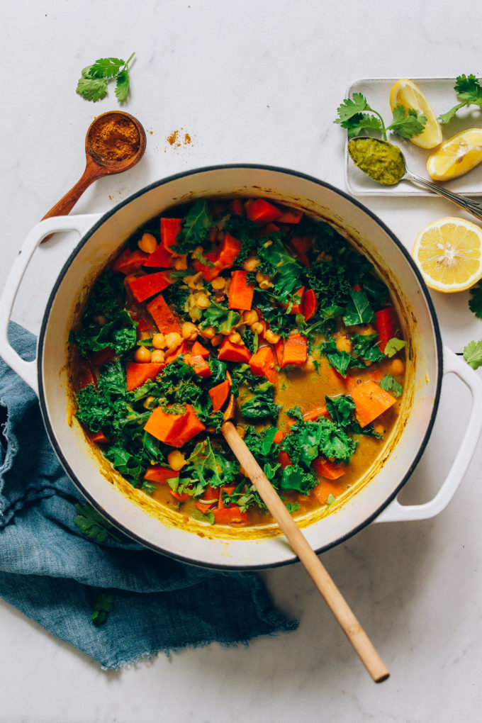 1-Pot Green Curry with Chickpeas, Kale, and Sweet Potato