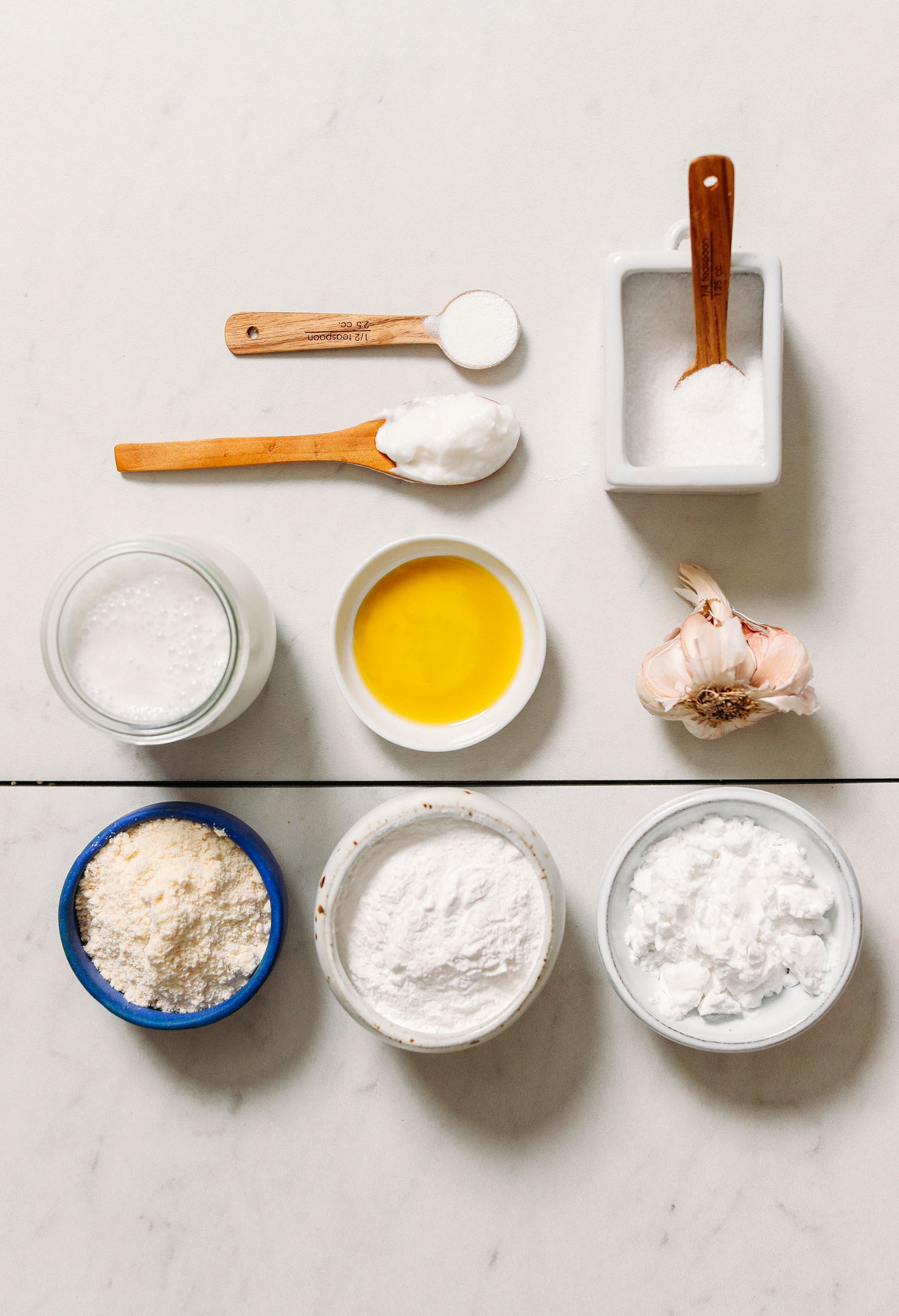 Gluten free flours, coconut milk, coconut yogurt, baking powder, salt, garlic, and olive oil