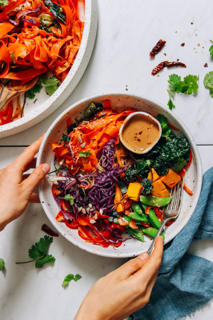 Raw Rainbow Veggie Noodle Salad with Peanut Dressing