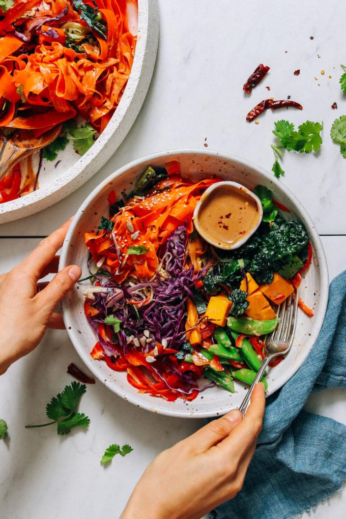 Raw Rainbow Veggie Noodle Salad with Peanut Dressing