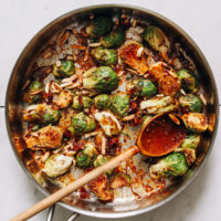 Skillet of Honey Mustard Brussels Sprouts with almonds