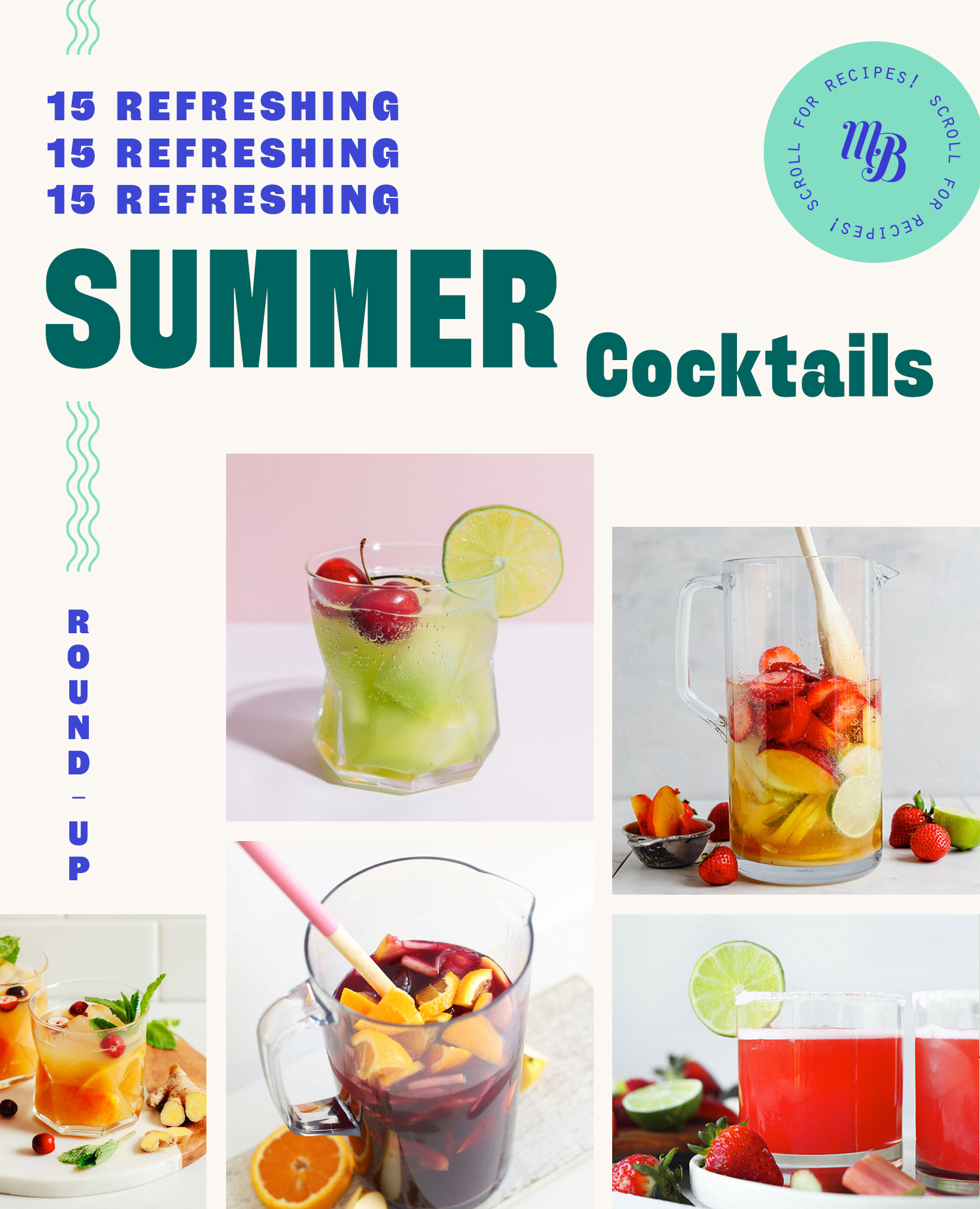 Assortment of refreshing summer cocktails