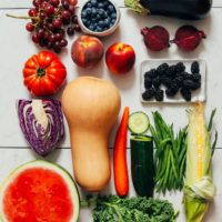 Assortment of fresh fruits and vegetables in season in summer
