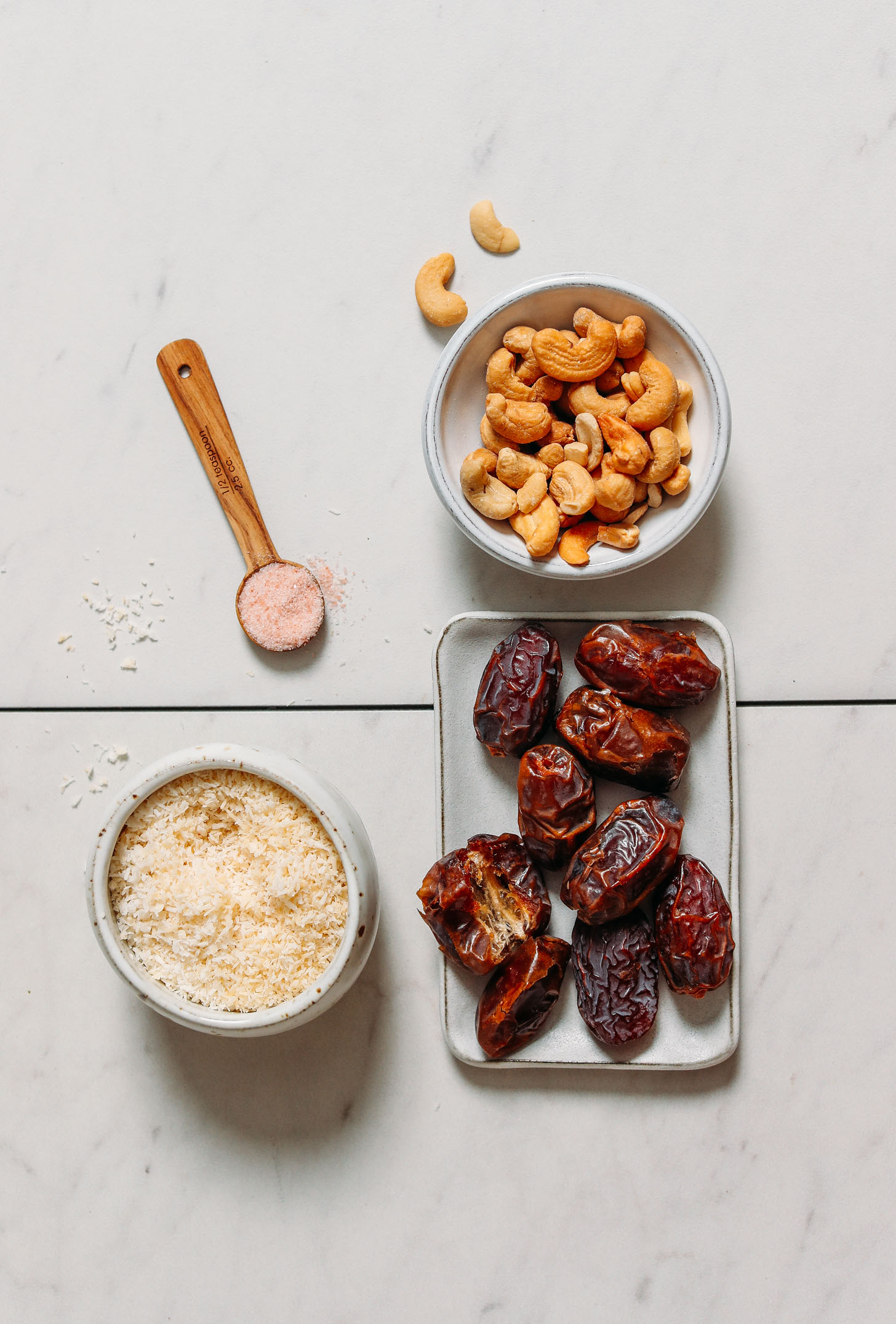 Cashews, medjool dates, shredded coconut, and sea salt