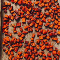Baking sheet of BBQ Roasted Sweet Potato Croutons
