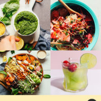 Photos of beet chips, avocado smoothie, and other recipes using august produce in season