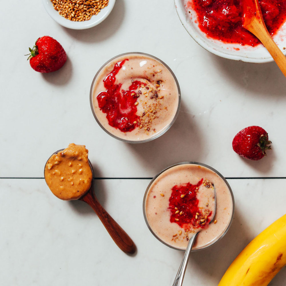 PB&J Smoothies topped with homemade strawberry compote