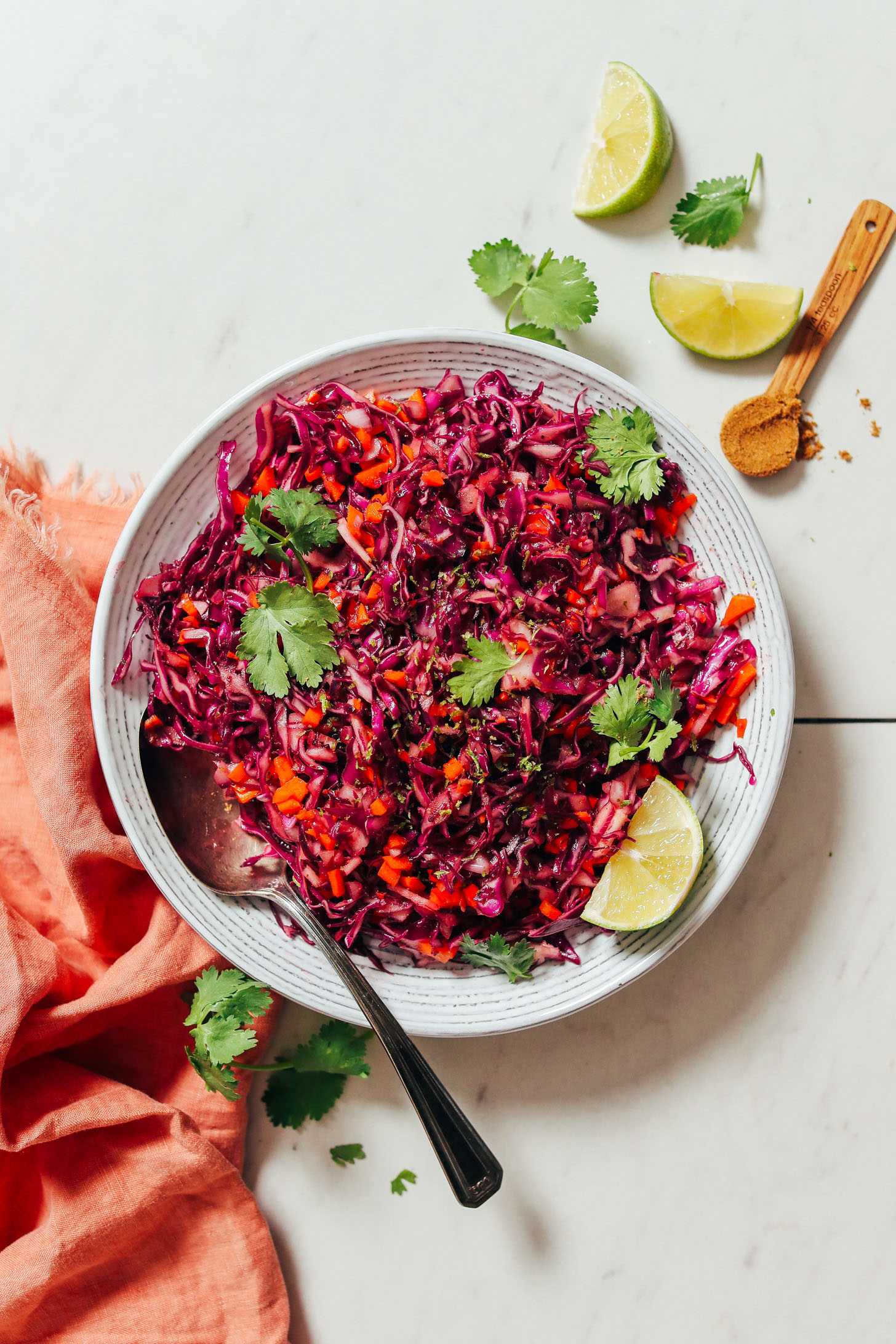 Bowl of our Quick Citrusy Cabbage Slaw recipe