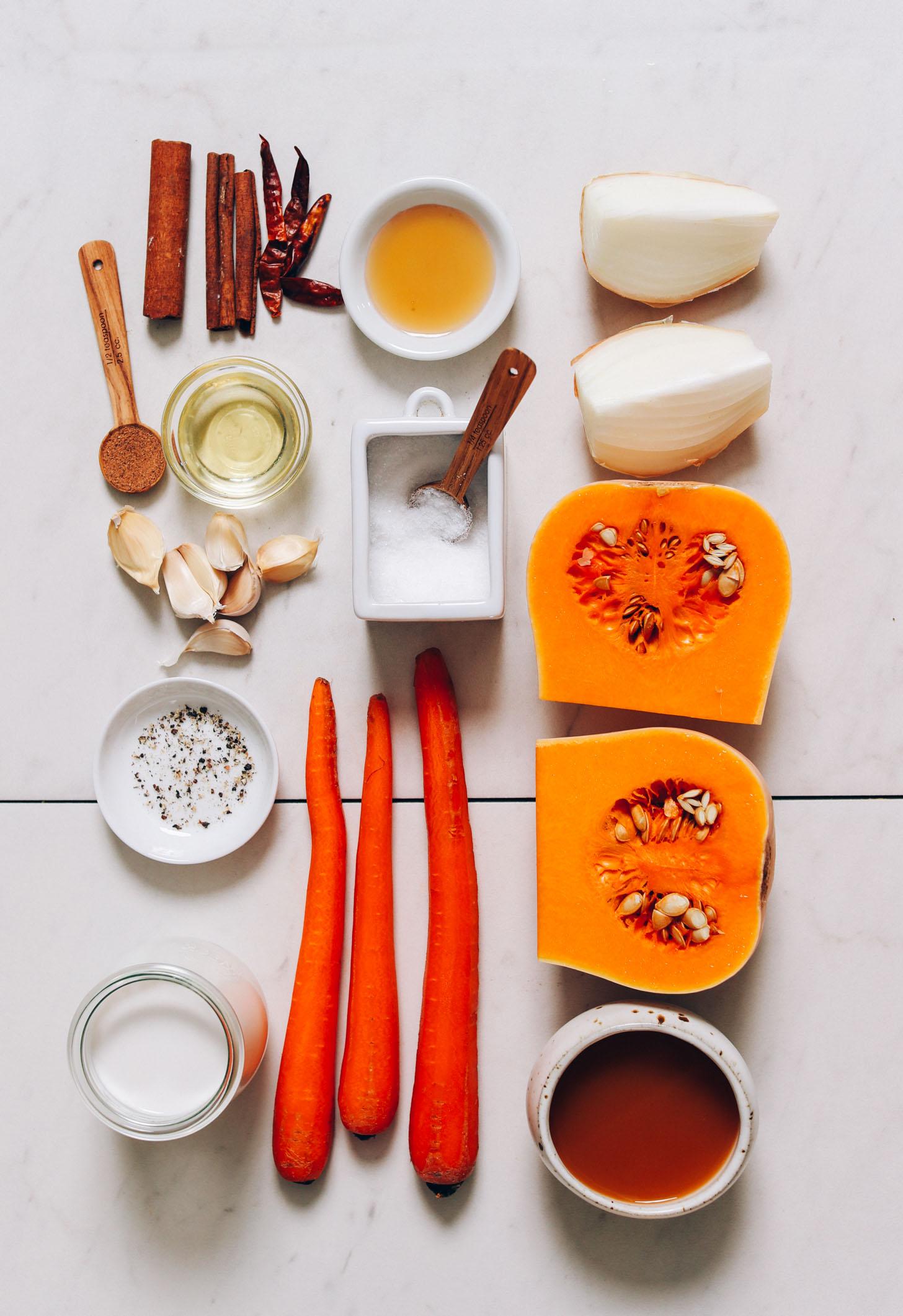 Cinnamon, cayenne, maple syrup, onion, butternut squash, vegetable broth, carrots, salt, pepper, coconut milk, garlic, avocado oil, and nutmeg