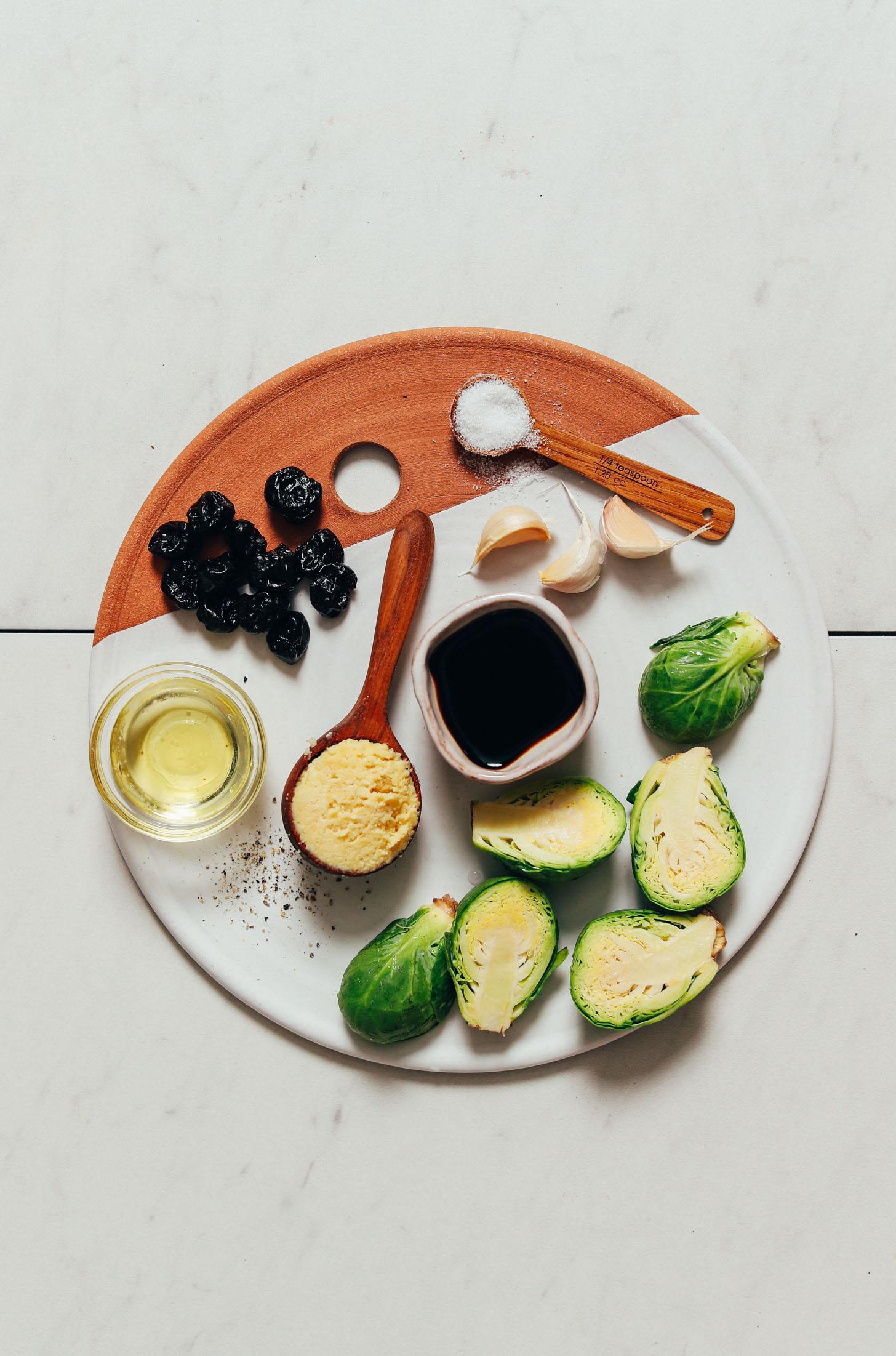 Dried cherries, sea salt, garlic, balsamic vinegar, Brussels sprouts, macadamia nut cheese, black pepper and avocado oil
