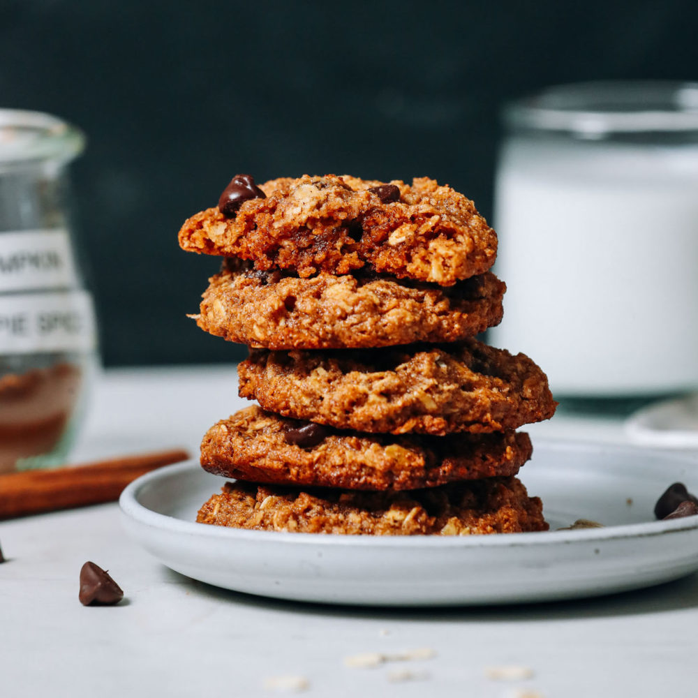 Stack of Vegan Gluten-Free Pumpkin Chocolate Chip Cookies