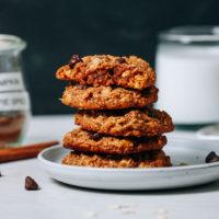 Stack of Vegan Gluten-Free Pumpkin Chocolate Chip Cookies