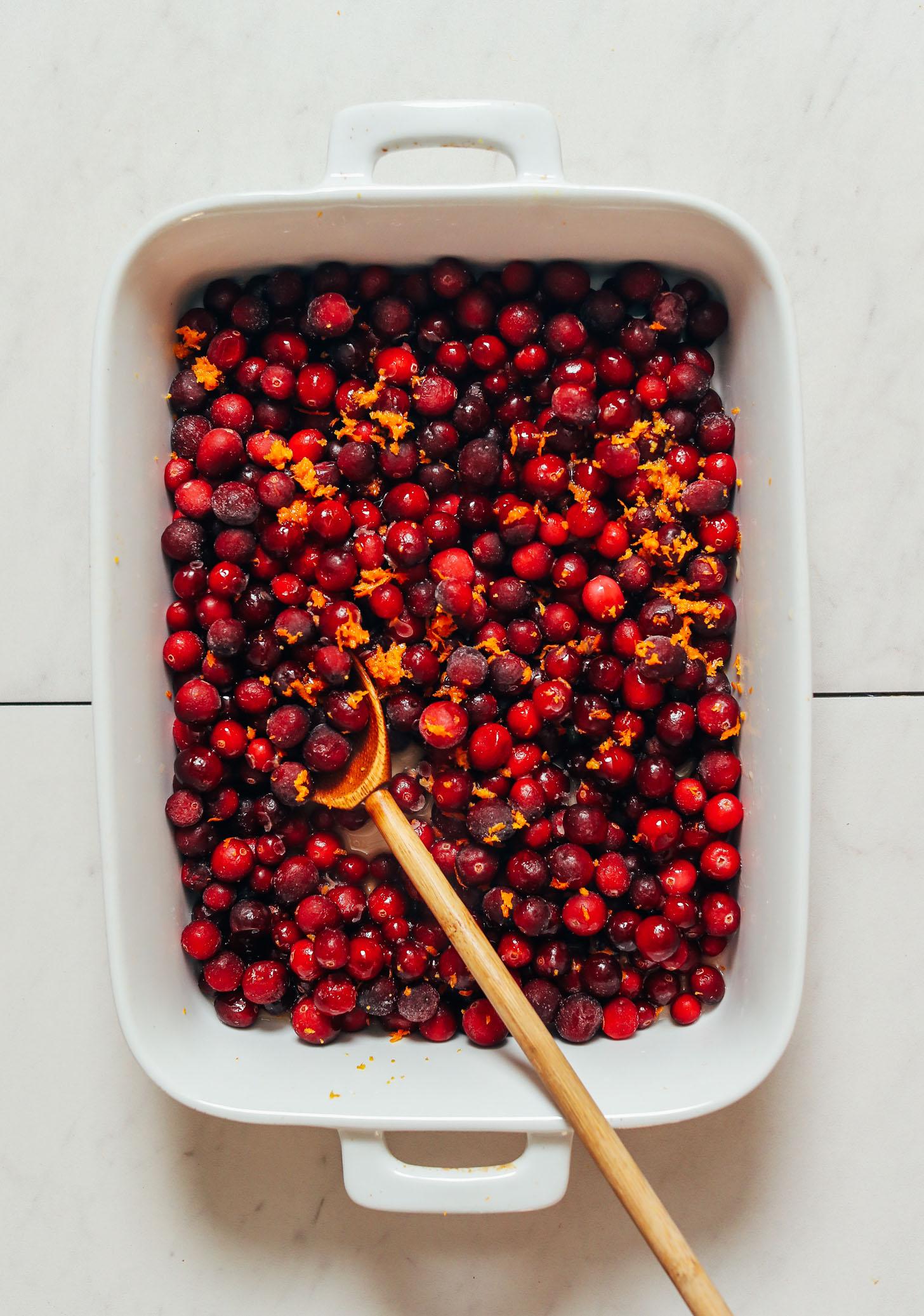 Baking dish of cranberries and orange zest