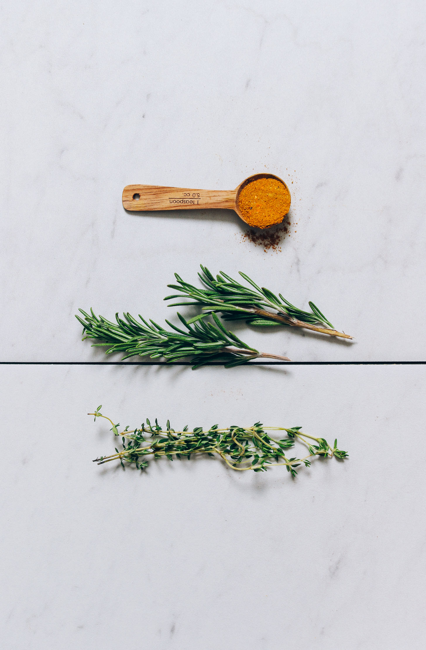 Curry powder, rosemary, and thyme