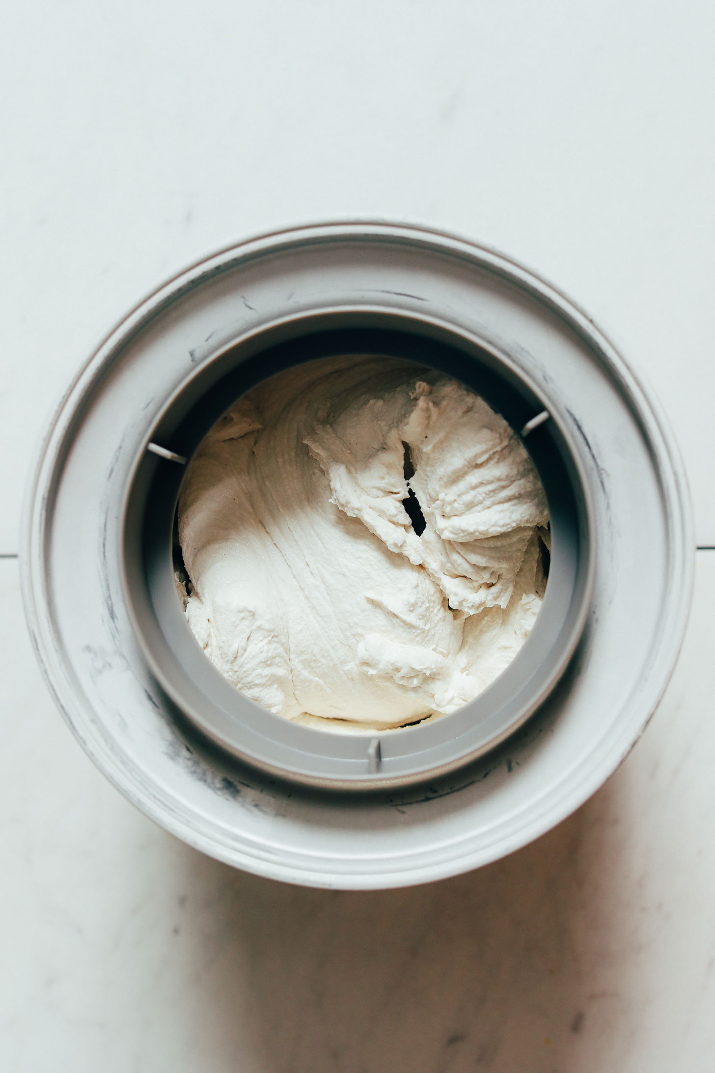 Vegan vanilla ice cream churning in an ice cream maker