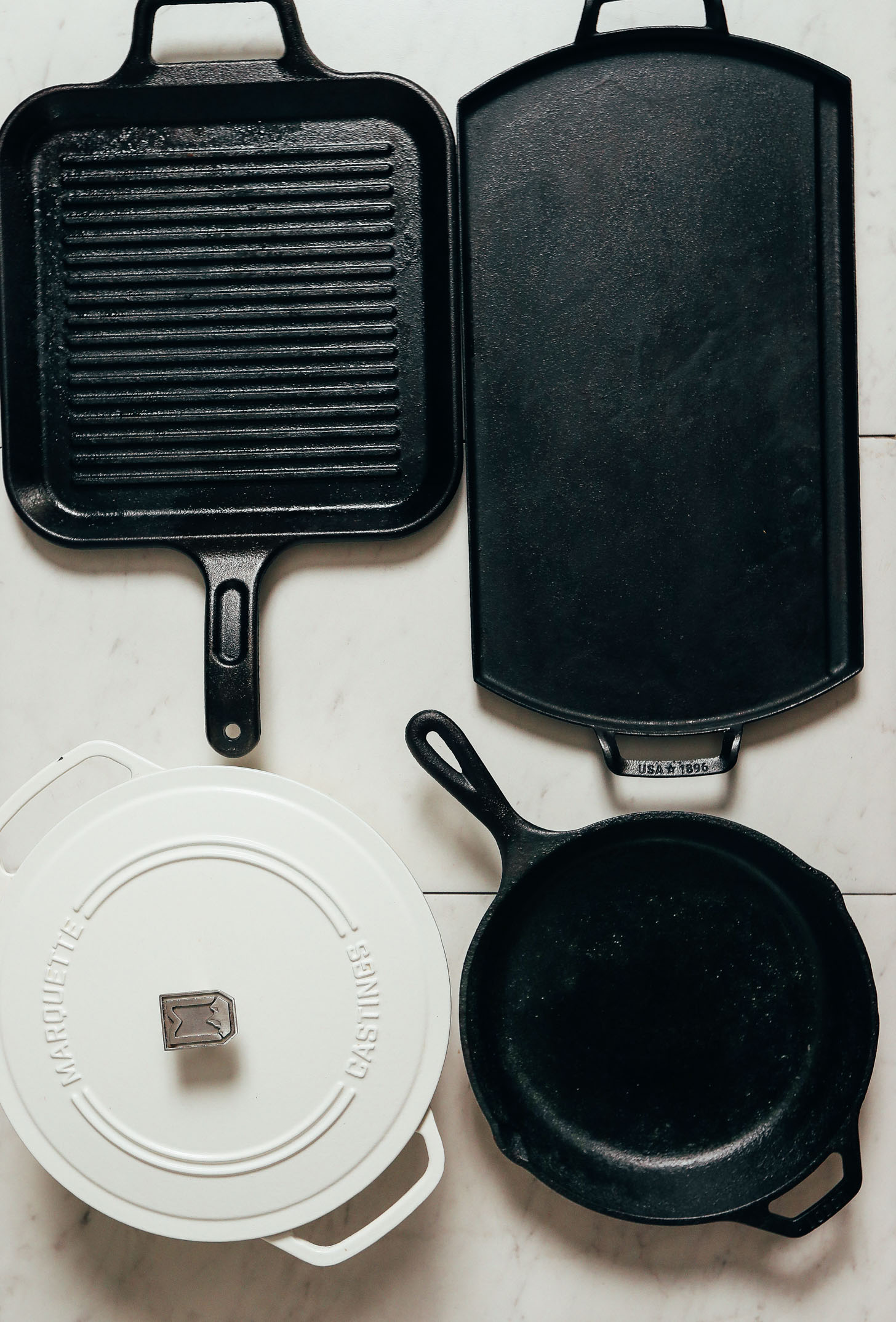 Assortment of cast iron pans