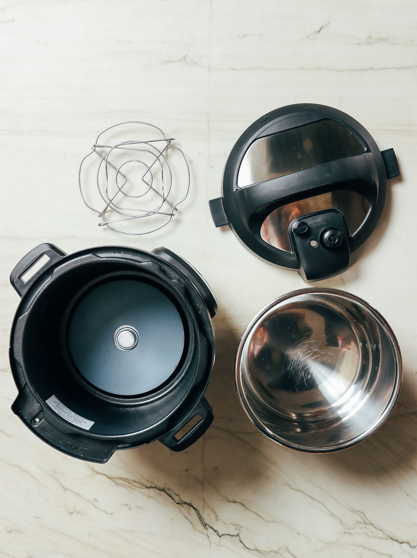 Instant pot lid, trivet, pot, and base