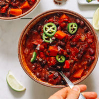 Spoon in a bowl of Instant Pot chili