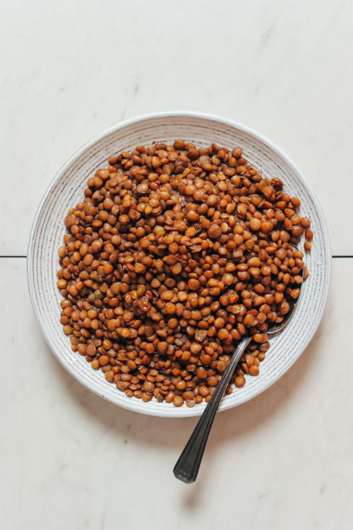 Bowl of cooked brown lentils