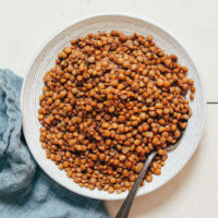 Bowl of brown lentils cooked in the Instant Pot