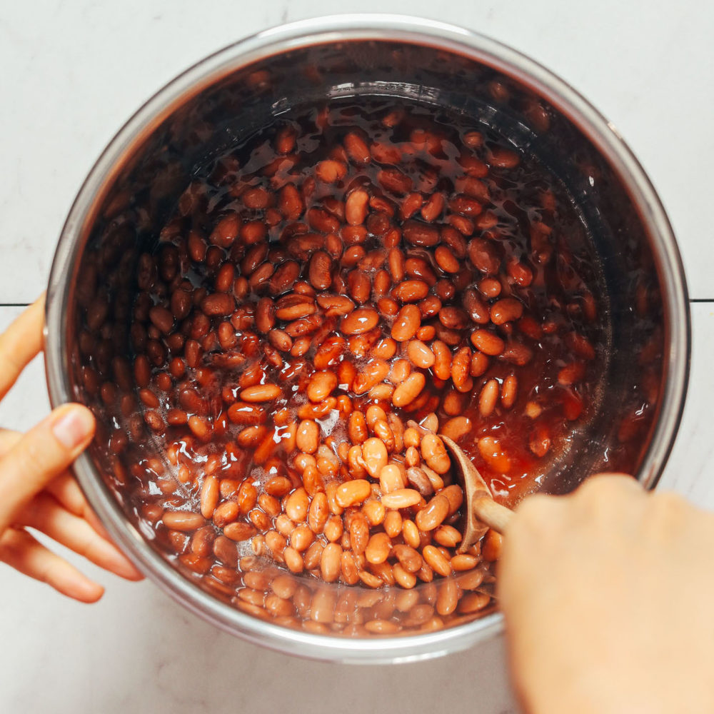 Stirring a pot of pinto beans made in the Instant Pot