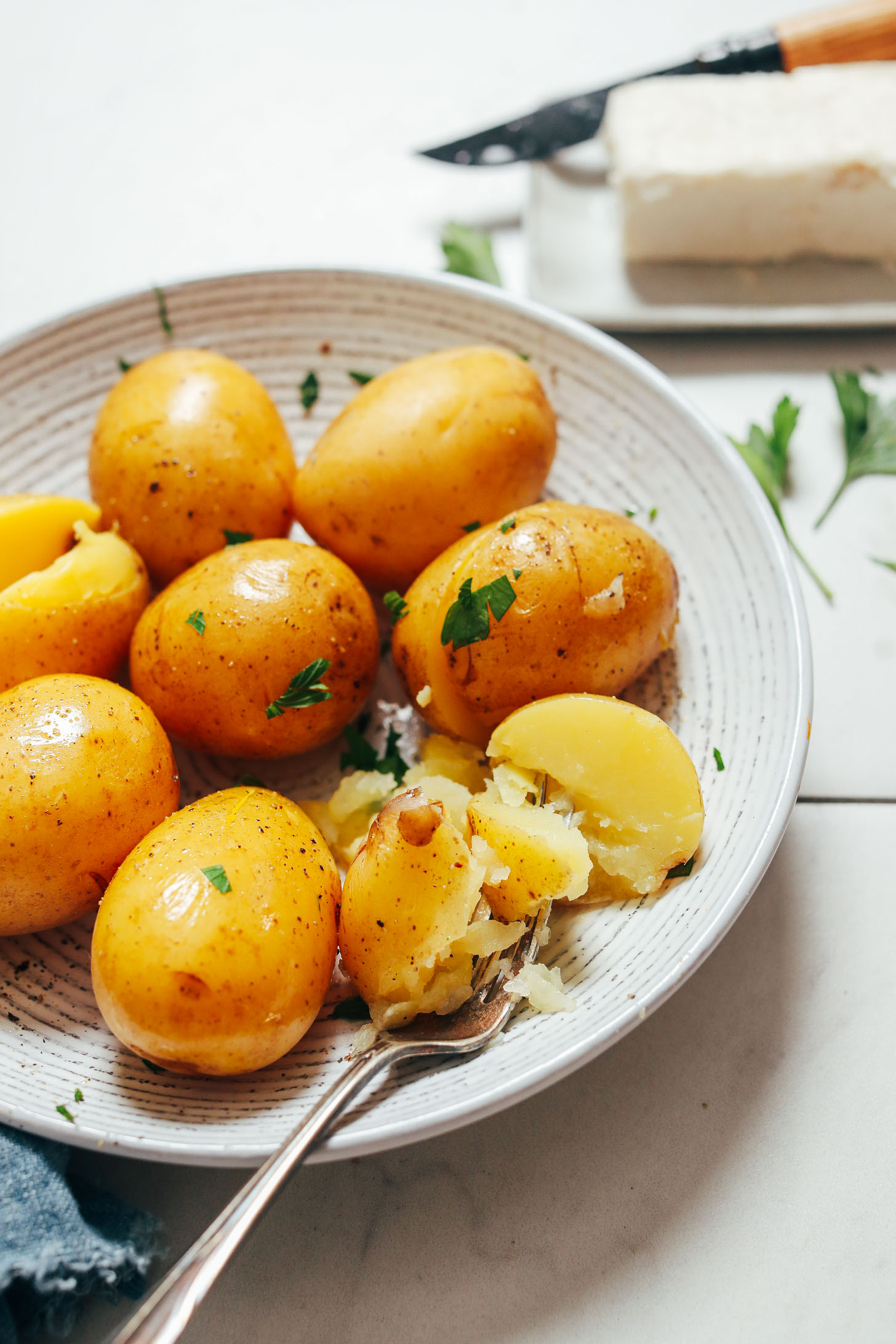 Bowl of perfectly tender potatoes cooked in the Instant Pot