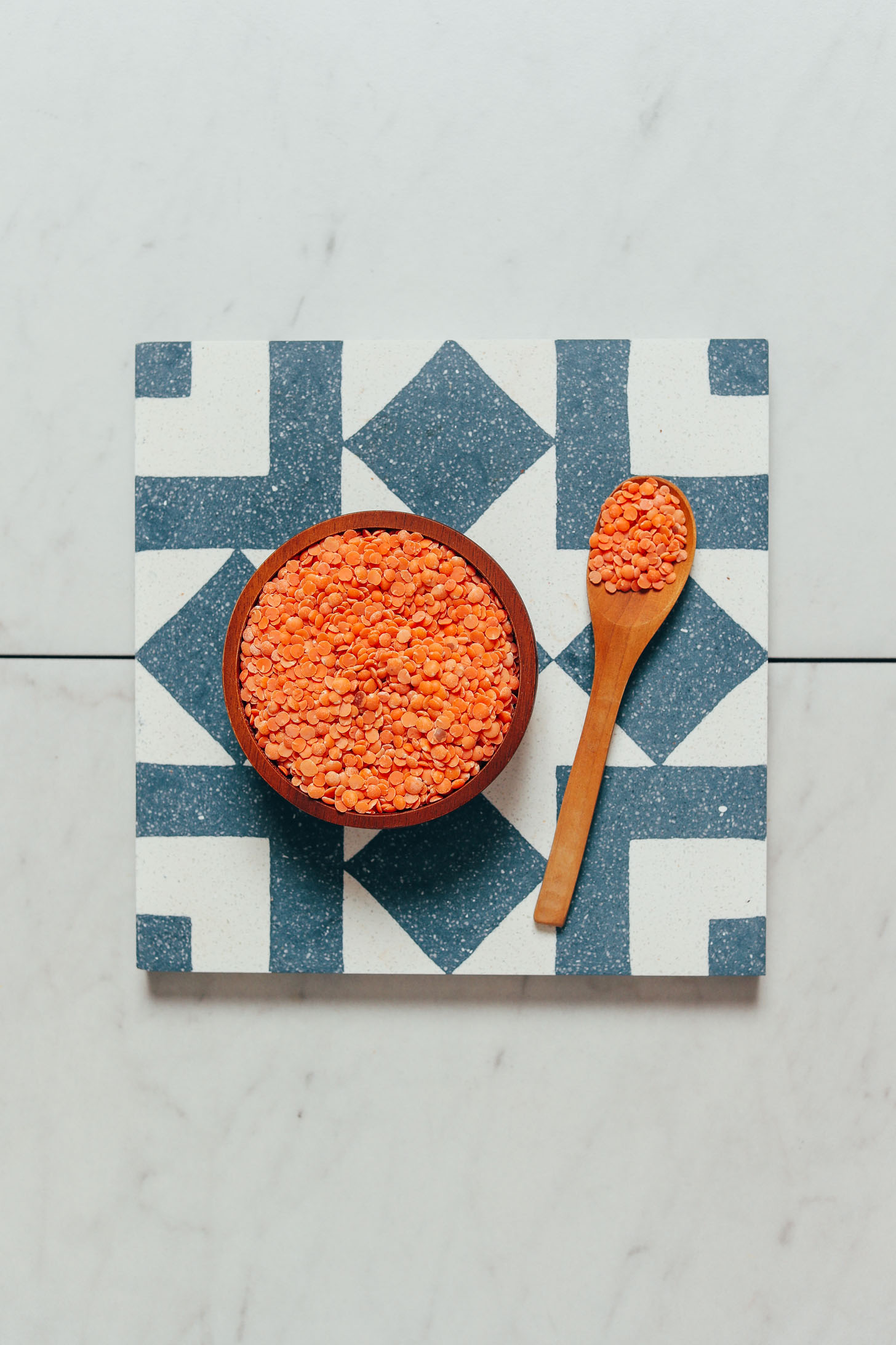 Bowl and spoon of red lentils