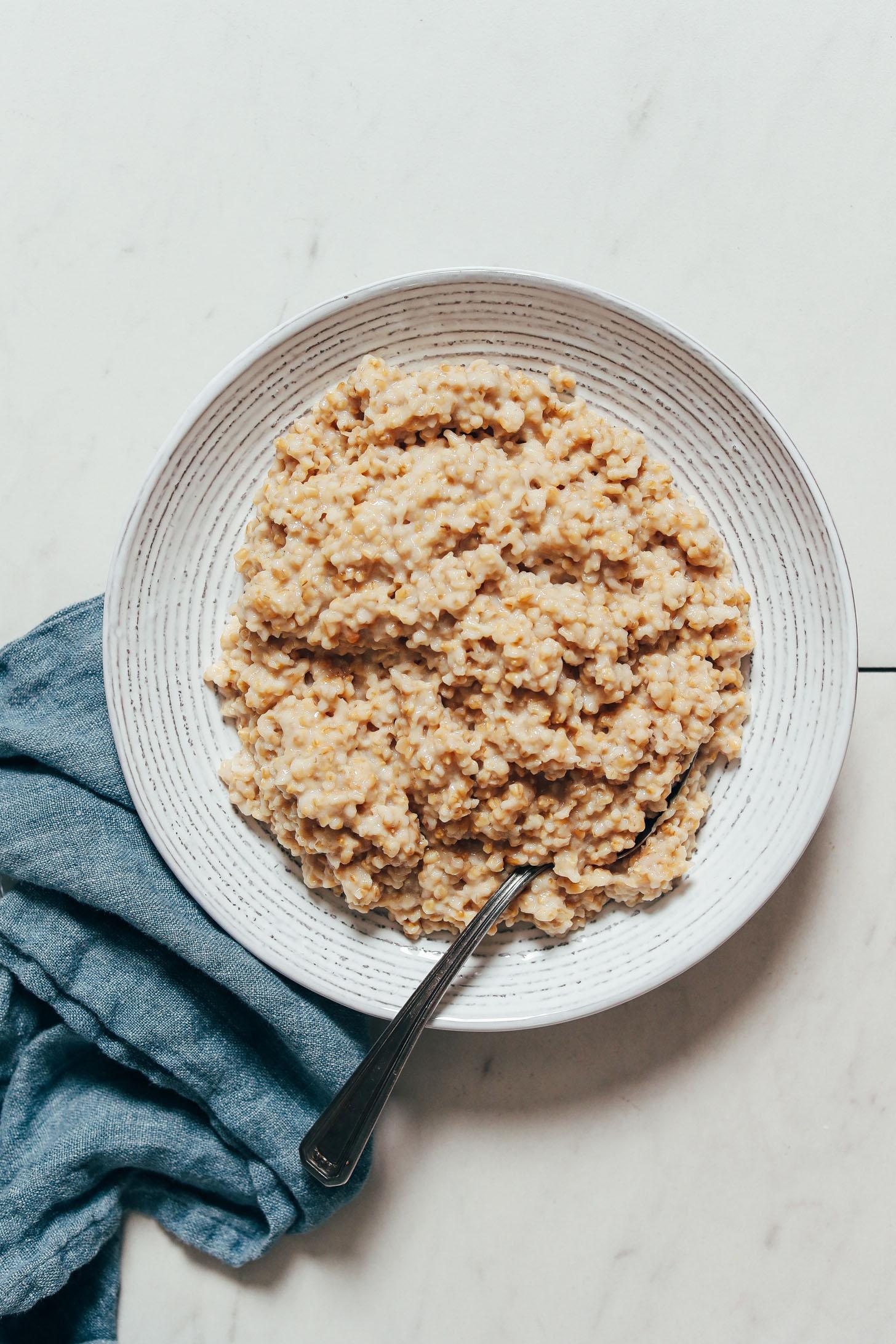 Bowl of perfect Instant Pot steel cut oats