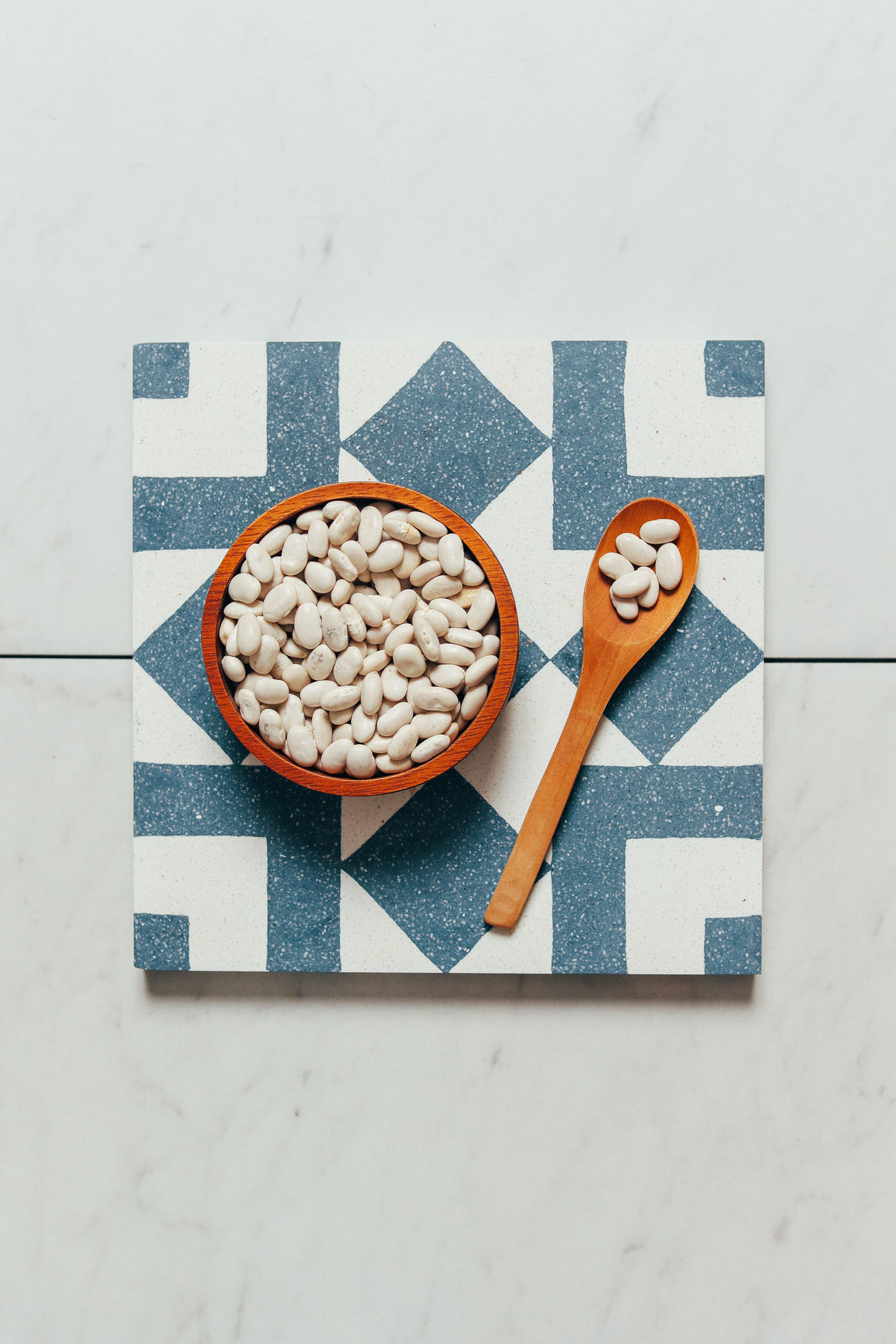 Spoon and bowl of Great Northern white beans