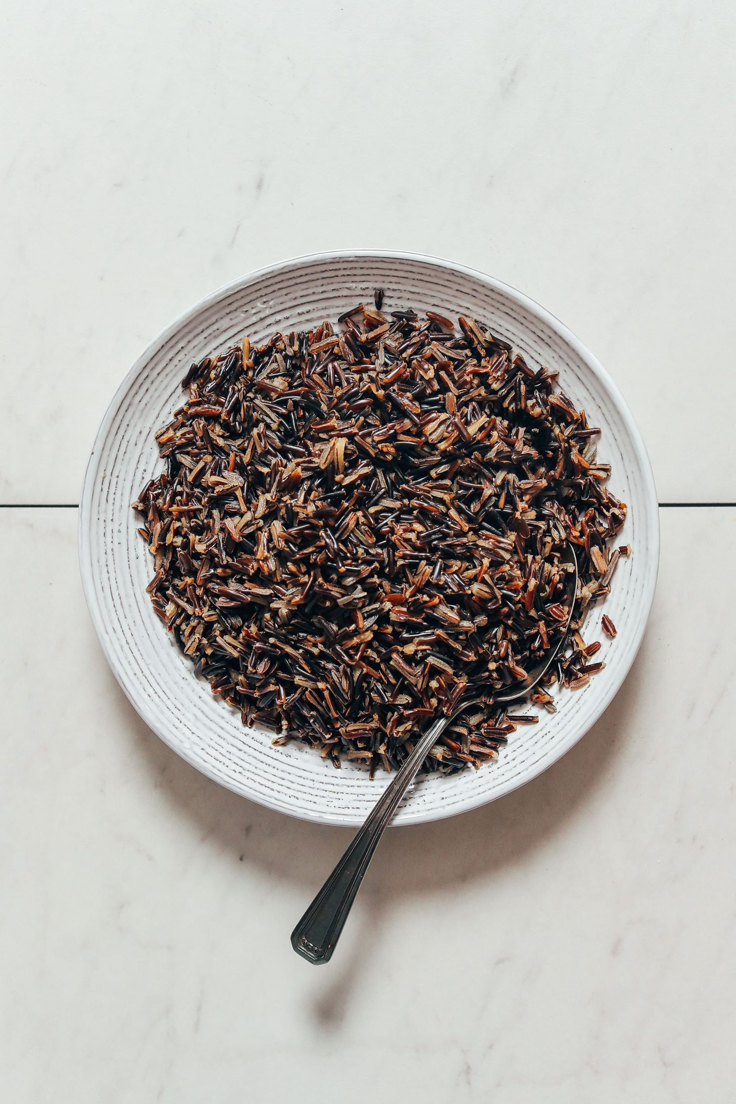 Bowl of perfectly cooked wild rice made in the Instant Pot